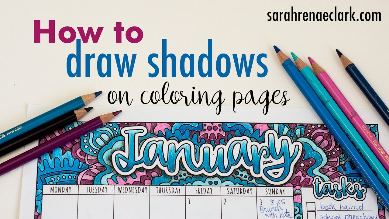How to draw shadows on coloring pages (beginner tutorial ...