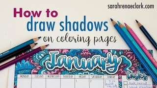 How to draw shadows on coloring pages (beginner tutorial plus free printable calendar)