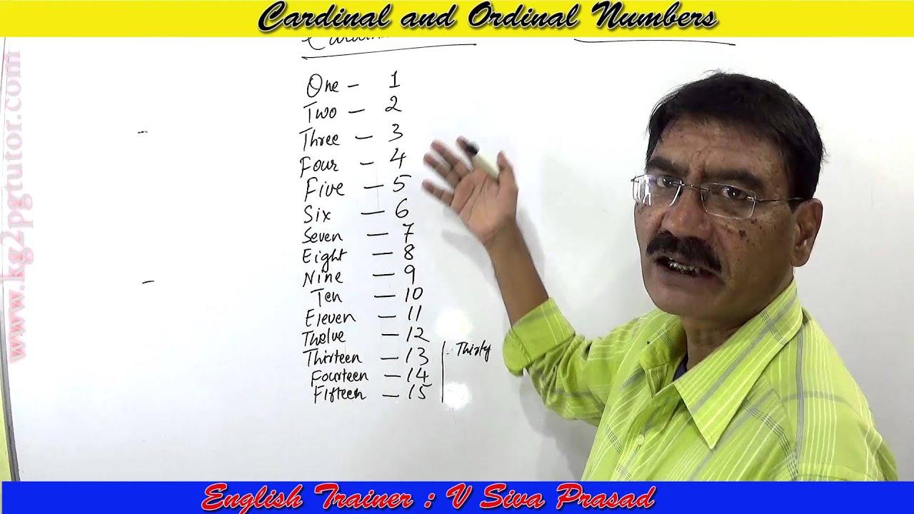 Cardinal and Ordinal numbers in telugu - kg2pgtutor com