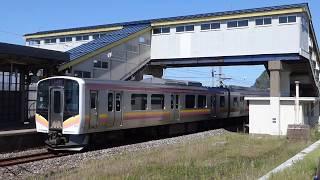 信越線E129系 米山到着-発車