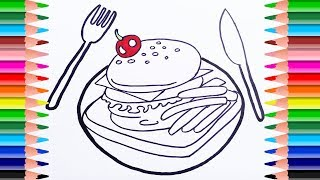 Food Coloring Page.How to Draw Breakfast food, Hamburger and French fries. Coloring Book for kids