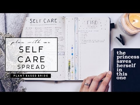 PLAN WITH ME: BULLET JOURNAL SELF CARE SPREAD for #MentalHealthAwarenessMonth // PLANT BASED BRIDE