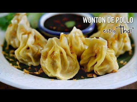 """Wontón de pollo estilo Thai - Como hacer """"Dumplings"""""""