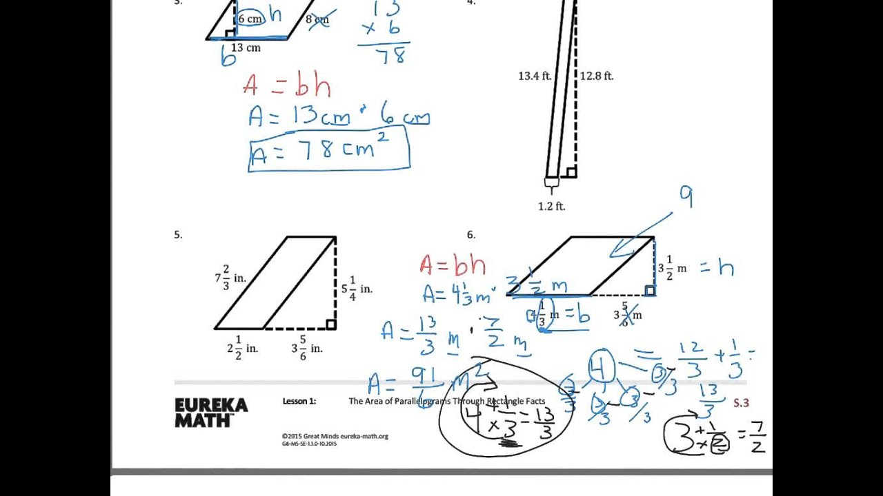 medium resolution of Area of Parallelograms (solutions
