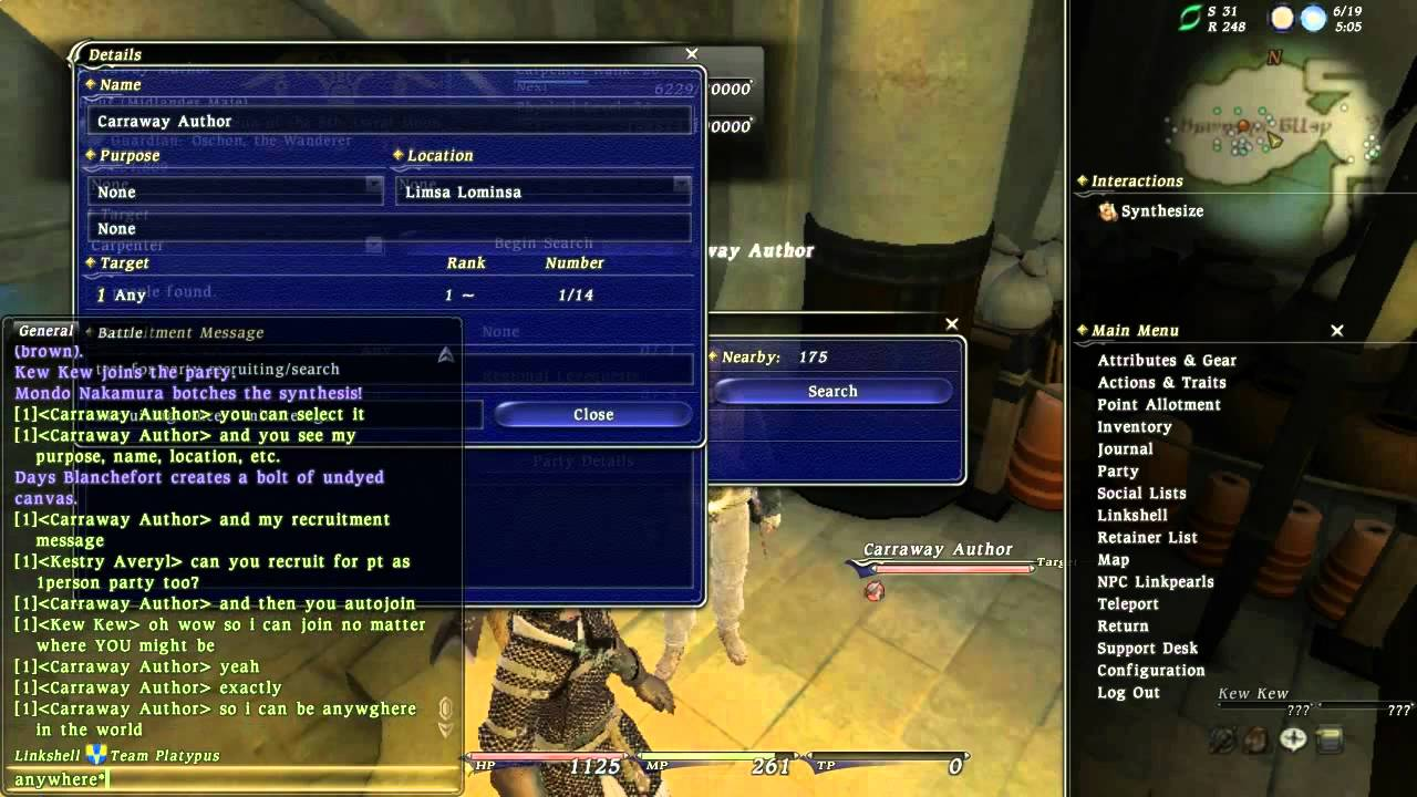 FFXIV: how2party - a brief demonstration of FFXIV's party recruitment system