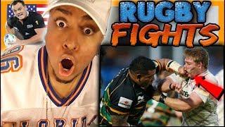 AMERICAN FIRST TIME WATCHING RUGBY! CRAZIEST HITS & FIGHTS Reaction Goals O'Driscoll leigh halfpenny