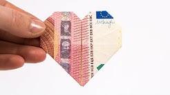 GELD FALTEN HERZ, Geldgeschenke zur Hochzeit basteln ❤️