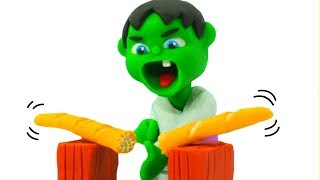 BABY HULK DOES KARATE ❤ Spiderman, Hulk & Frozen Play Doh Cartoons For Kids