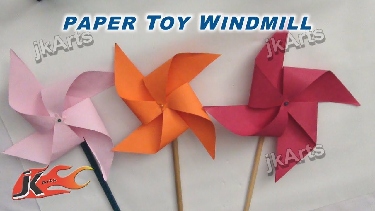 Papercraft DIY How to make Paper Toy Windmill (Easy craft for kids) - JK Arts 256