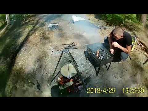 Казацкая каша , шашлыки и скумбрия на гриле , пикник в лесу.