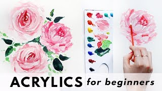 Painting Tutorial EASY for Kids & Beginners / Acrylic Floral Bouquet