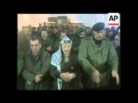 Yasser Arafat Attends Prayers Marking The End Of Ramadan
