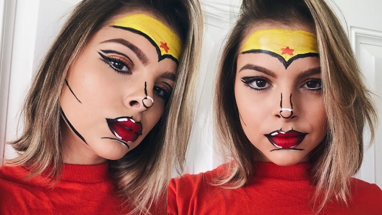 Cartoon Halloween Makeup.Easy Cartoon Wonder Woman Halloween Makeup Tutorial Youtube