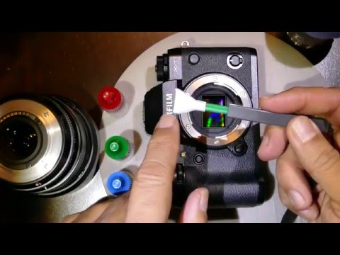 How to clean Fujifilm X-T1 sensor using‎ Sensor Clean and MXD-100 Green swab 1.6x / 16 mm