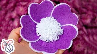 Цветок из фетра на шапку своими руками ✄ Kulikova Anastasia
