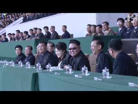 Kim Jong-un watches North Korea football match in Pyongyang