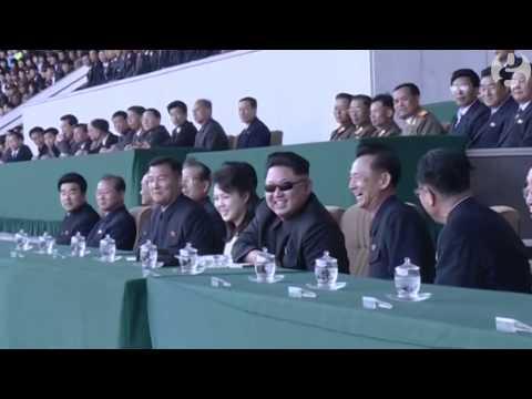 Dear Leader Kim Jong-un watches North Korea football match in Pyongyang