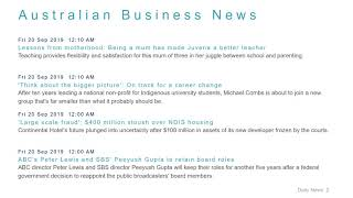 Business News Headlines for 20 Sep 2019 - 8 AM Edition