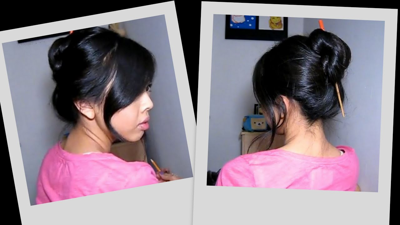 30 Second Chopstick Updo Great For Thick Hair Youtube