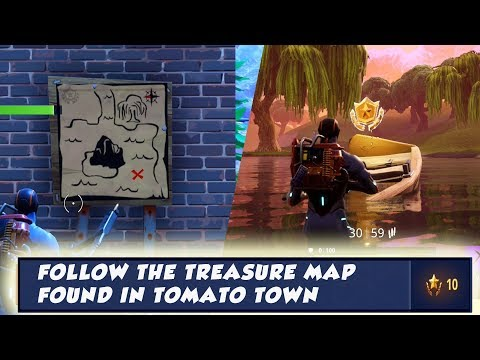 Follow The Treasure Found In Tomato Town : Fortnite Season 4 Week 1 Challenge