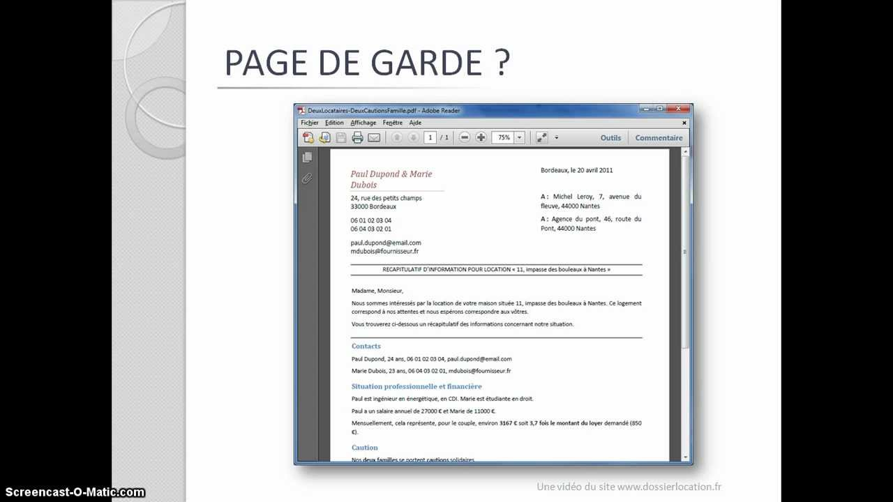 Dossier De Location Le Secret De La Page De Garde Dossierlocation Fr