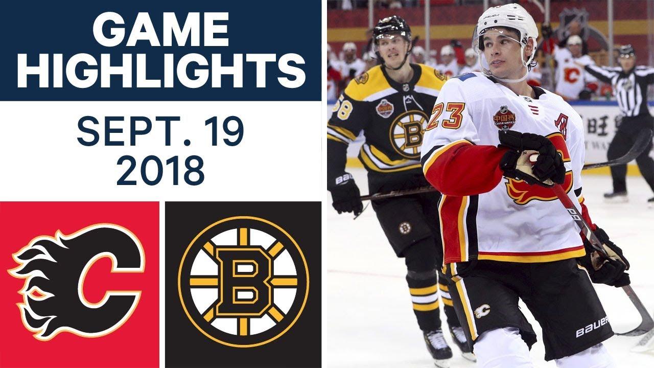 Nhl Pre Season Highlights Flames Vs Bruins Sept 19