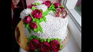 Торт с вишнёвыми розами