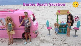 Barbie and Ken Beach Story in Barbie Dream Camper with Chelsea and Frozen Anna and Elsa Mermaids