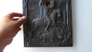 Обзор икона Георгий Победоносец в серебре