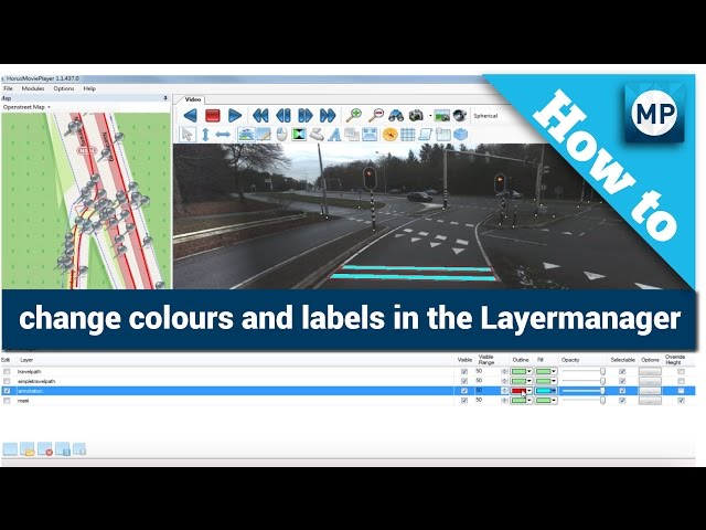 How to change colors and labels in the Layermanager of the Horus Movie Player