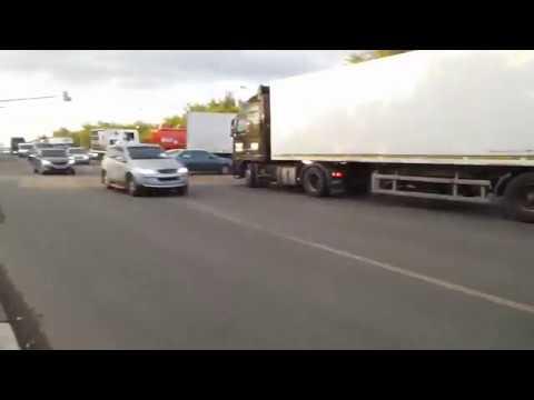 Пробки на повороте с Каширского шоссе на аэропорт Домодедово