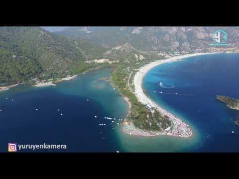 Ölüdeniz Drone Hava çekimi / Blue Lagoon Oludeniz Turkey / Muğla Türkiye ( Yürüyen Kamera )