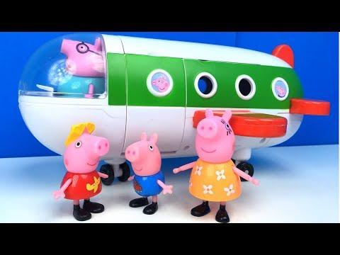 EL AVION DE VACACIONES DE PEPPA PIG HOLIDAY PLANE VIAJE A LA PLAYA CON PAPPA PIG MAMA PIG Y GEORGE