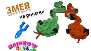 ЗМЕЯ из резинок на рогатке без станка | SNAKE Rainbow Loom Bands(В этом видеоуроке вы узнаете как сплести змею из резинок на рогатке без станка. Вам понадобится: 54 оранжевых..., 2015-09-24T13:10:58.000Z)