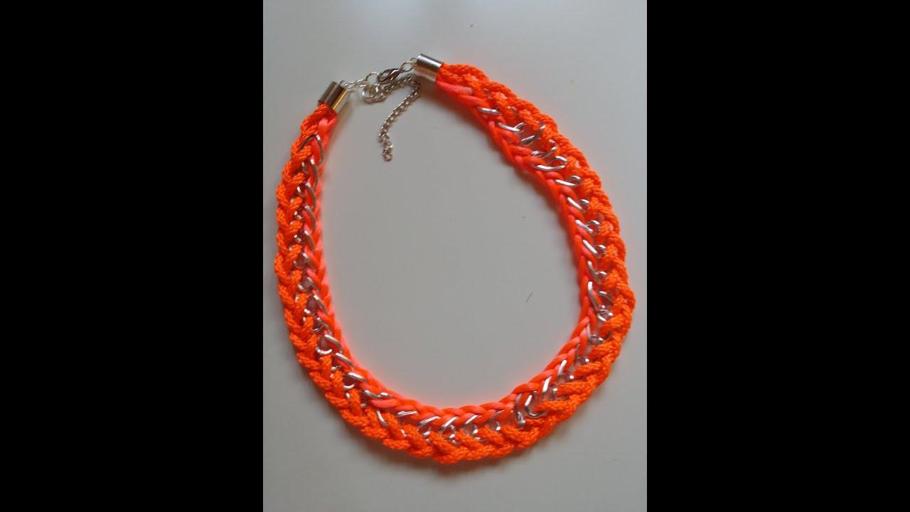 DIY Collar fluor con cadena, cordón y cola de raton