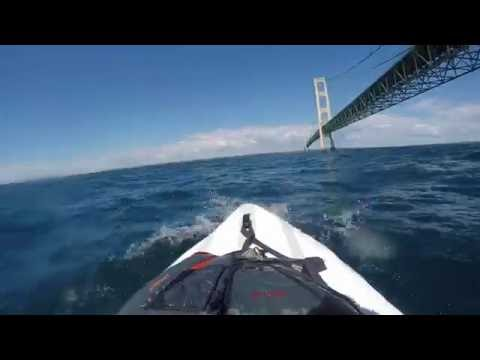 Paddle boarding the Straits of Mackinac with dog & GoPro