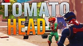 "NEW ""TOMATO HEAD"" Skin Gameplay! Tomato Head Invades Greasy Grove! (Fortnite BR Gameplay)"