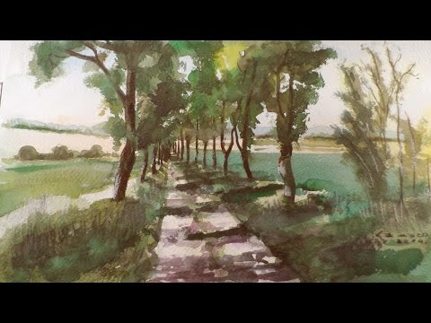 Watercolour Painting - Road With Trees  Landscape - By Vamos