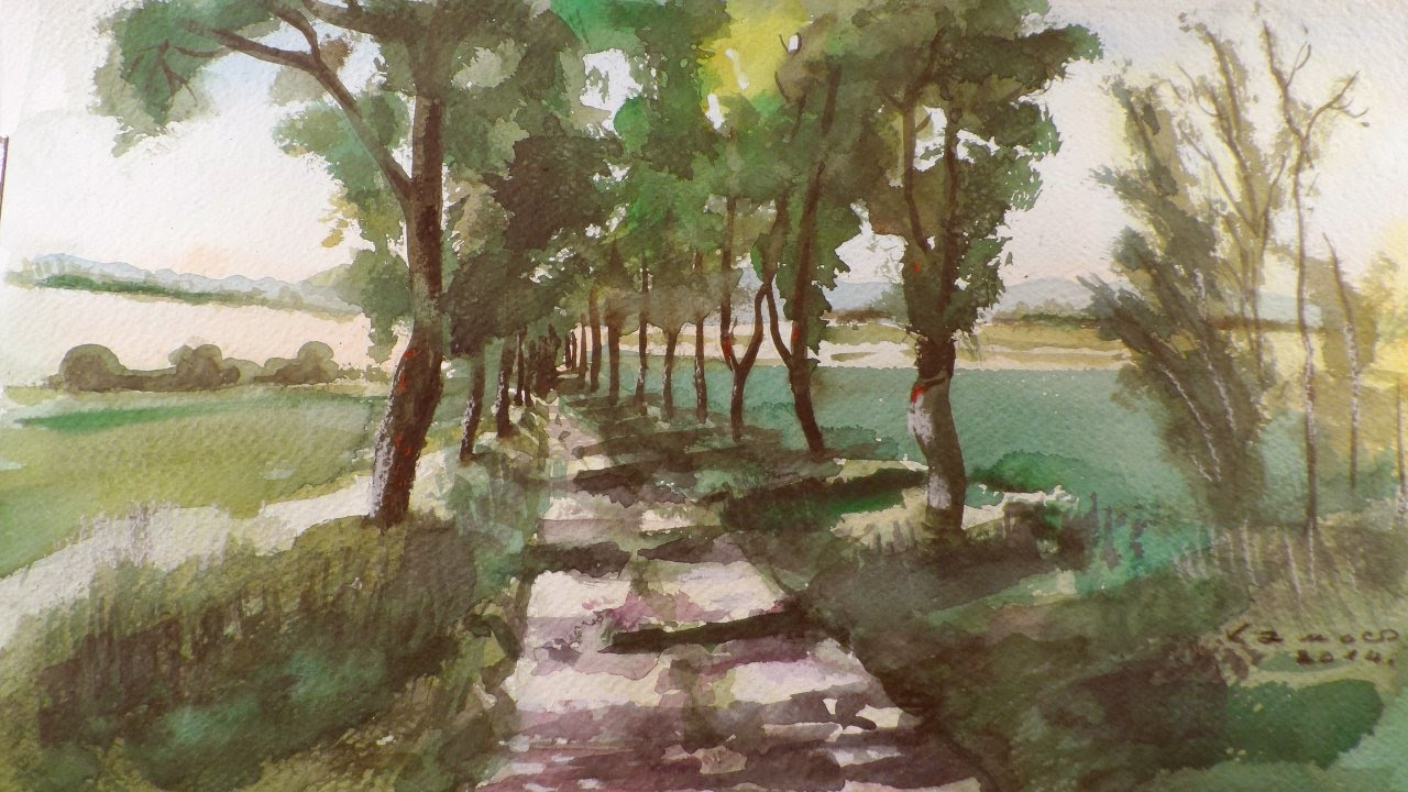 Road With Trees Watercolour Painting By Vamos Youtube