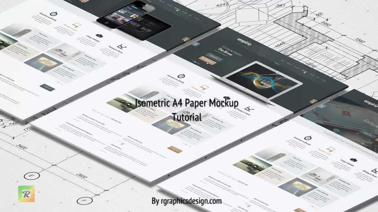Isometric A4 Paper Mockup Tutorial - YouTube