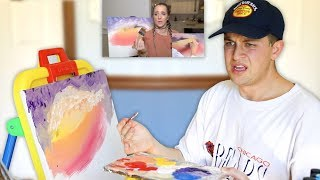 Following Jenna Marbles Follow a Bob Ross Tutorial