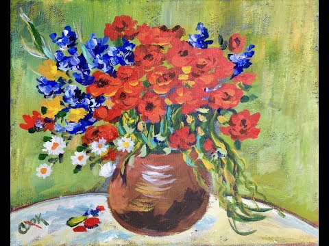 How To Use Acrylic To Paint An Impressionistic Vase Of Flowers By