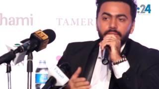 بالفيديو:  تامر حسني يحتفل بوصوله لـ 100 مليون مستمع على