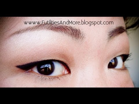 winged eyeliner for asian monolid and red lips makeup