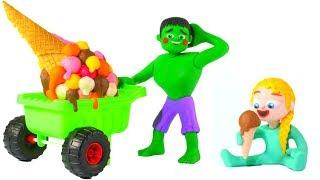 HULK ICE CREAM IS THE BIGGEST ❤ Spiderman, Hulk & Frozen Elsa Play Doh Cartoons For Kids