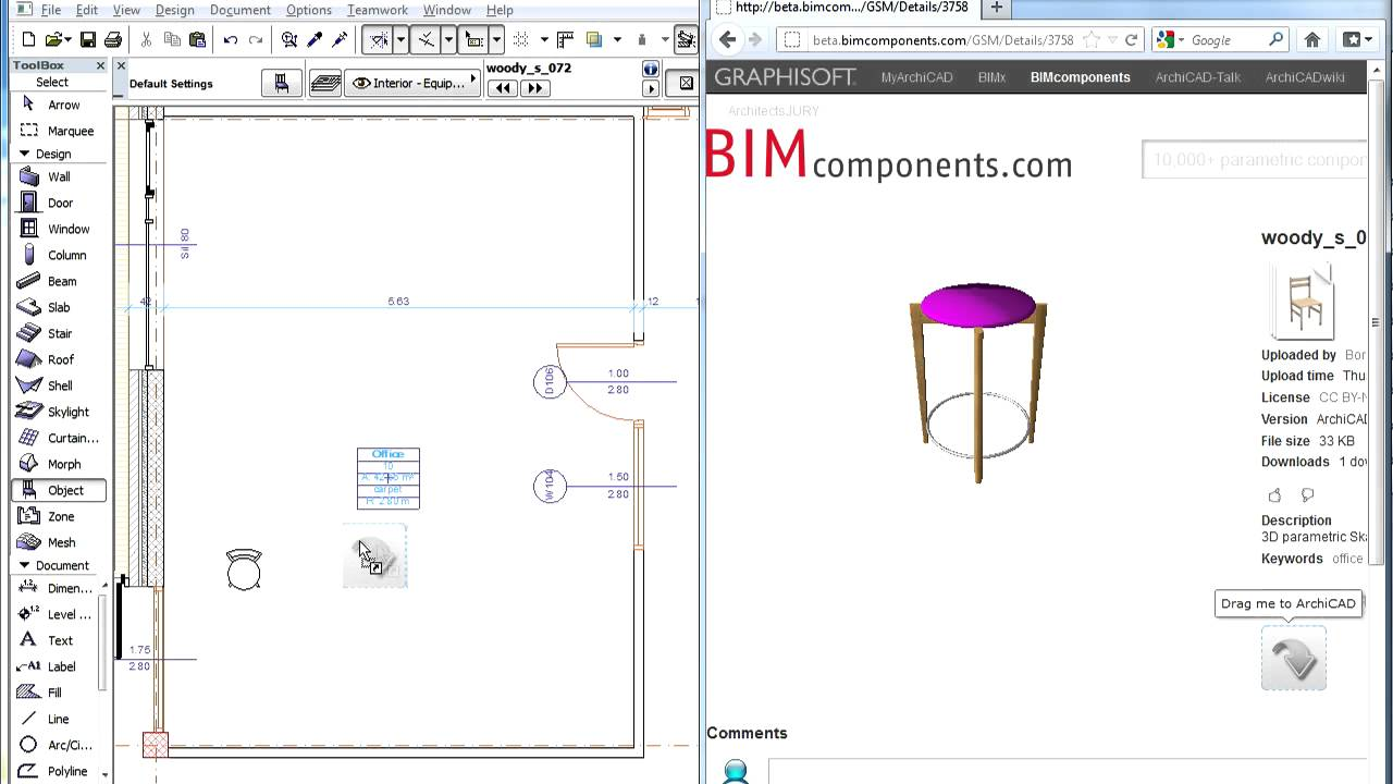 ArchiCAD BIM Components Portal: Drag and Drop Download
