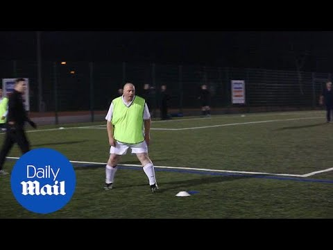 No time to waist: Man v Fat football league players practice - Daily Mail