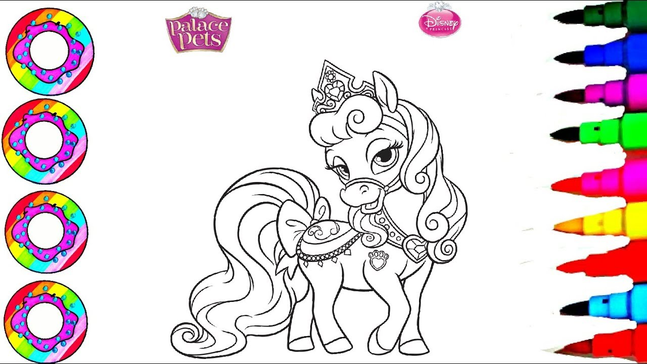 Learn To Color Disneys Palace Pets Bloom Glitters Dress Coloring Pages For Kids
