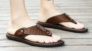 Designer slippers   Men's PU Leather Slippers 2019