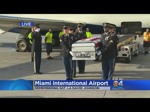 Casket Of Sgt. La David T. Johnson Arrives At Miami International Airport